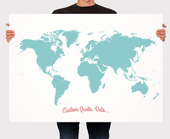 Wedding guest book world map custom color add quote date wedding guest book world map custom color add quote date signage wedding decor personalized guest book map large medium size gumiabroncs Choice Image