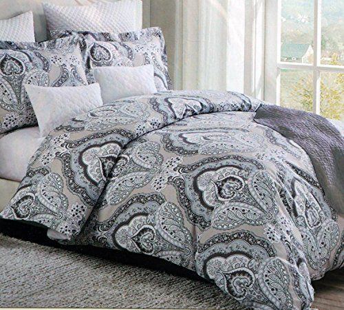 Amazon Com Domain 3 Piece Full Queen Duvet Cover Set Beige And Light Blue Paisley Pattern On Whit King Duvet Cover Sets Duvet Cover Sets Queen Duvet Covers
