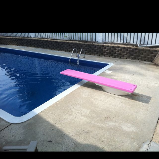 I painted my diving board pink my diy projects diving board swimming diving for Swimming pool diving board tricks