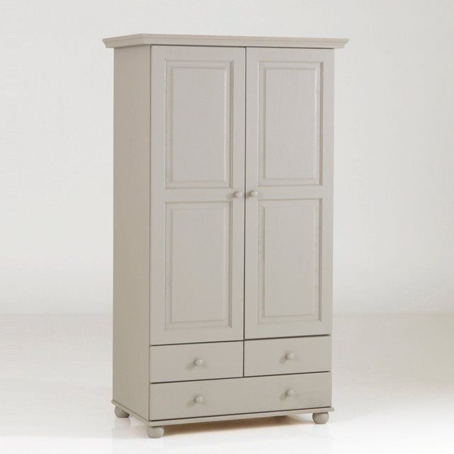 armoire pin massif 2 portes penderie 3 tiroirs. Black Bedroom Furniture Sets. Home Design Ideas