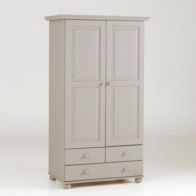 armoire pin massif, 2 portes penderie, 3 tiroirs, | chambre petite