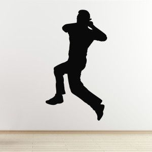 Cricketer Wall Sticker Spin Bowler Boy Sports Bedroom Wall Stickers Sports Logo Wall