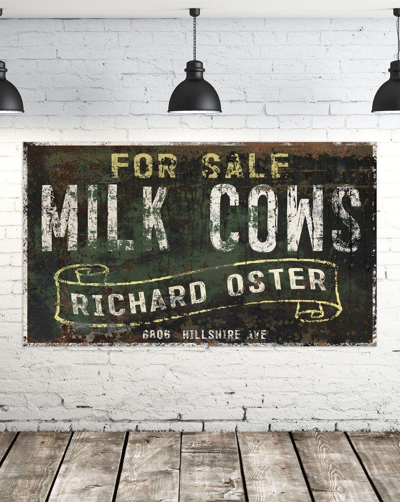 Milk Cows For Sale Vintage Sign Large Farmhouse Signs Faux Metal