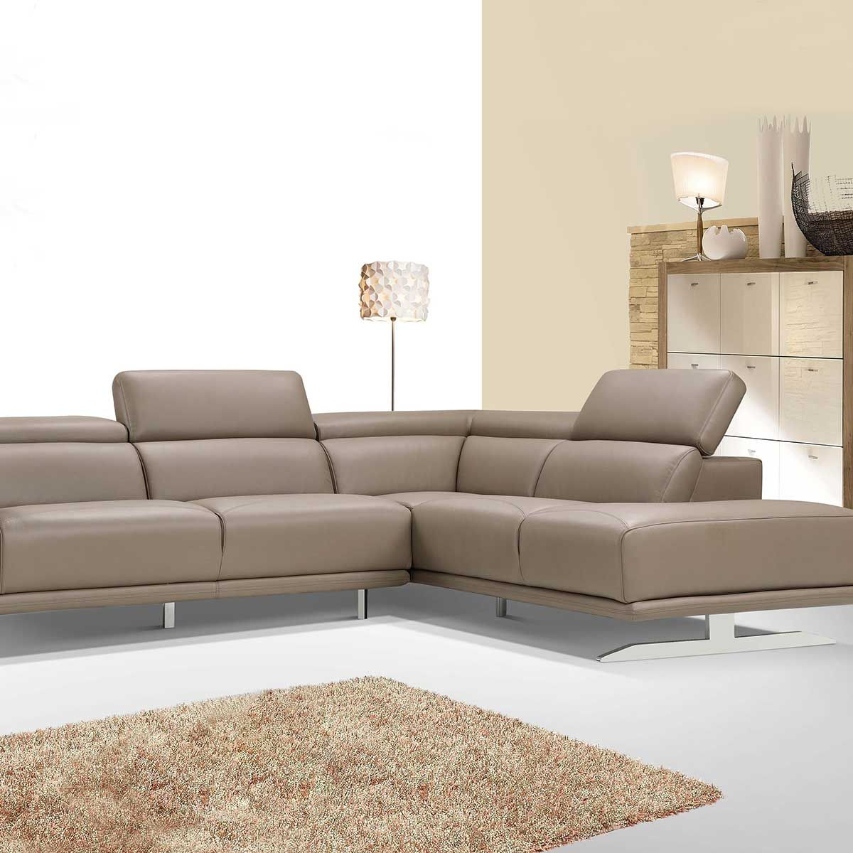 L Shaped Faux Leather Sofa With Left Right Chaise With Adjutsable Head Rest With Stainless Steel Legs In Modern Luxuriou Faux Leather Sofa Sofa Leather Sofa