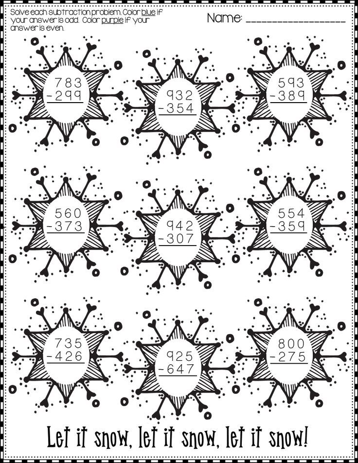 winter 3 digit subtraction with regrouping printables. Black Bedroom Furniture Sets. Home Design Ideas