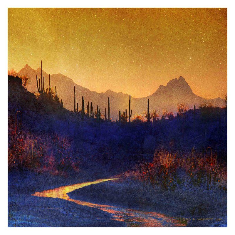 Marmont Hill Sunset Saguaros Stream Painting Print on Wrapped Canvas - ET-MWW-CV-9937-C-