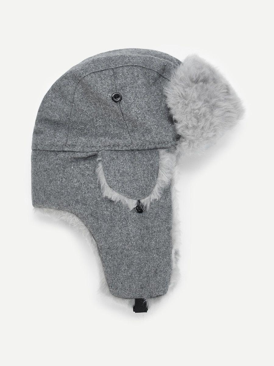 91a21388e1 Men Faux Fur Ear Flap Cap -SheIn(Sheinside) | Hats | Faux fur, Fur, Cap