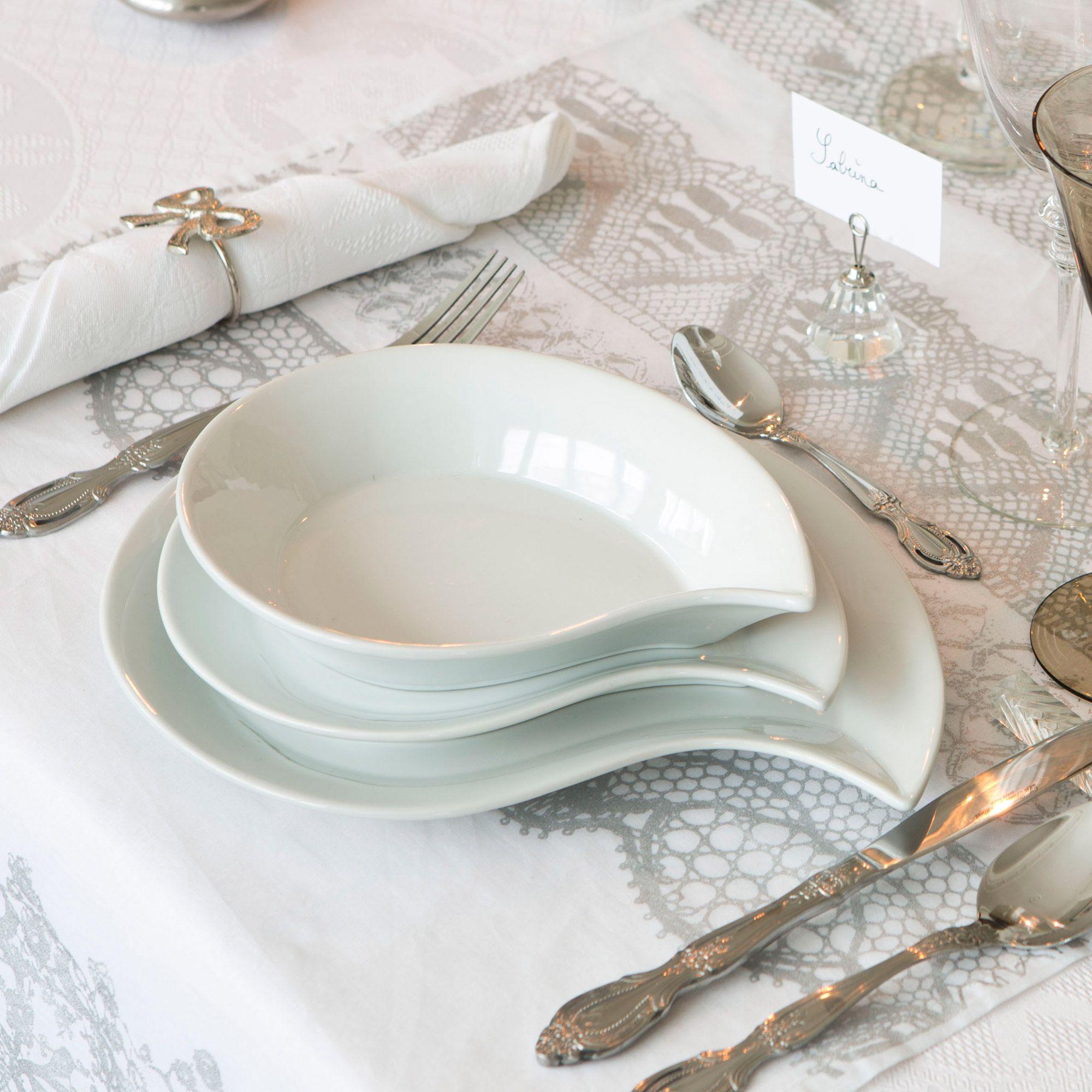 347b281cf695f Assiettes Delamaison, promo Service de table 12 pièces en porcelaine Blanc  VIRGULE Lola MiaG prix