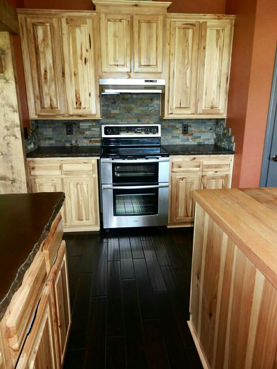 Hickory Cabinets Concrete Counters And Hand Scraped Hardwood Hickory Kitchen Cabinets Hickory Kitchen Rustic Kitchen