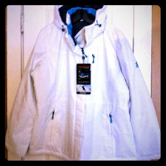 NWT ZEROXPOSUR SKI JACKET (XL) SUPER NICE XL JACKET WHITE AND AQUA BLUE TRIMMINGS!! WATER RESISTANT,HAND WARMER POCKETS,DETACHABLE HOOD,ADJ. CUFFS. ALSO A SAFE POCKET. COMFORTABLE,DURABLE AND PROTECTION!! ZEROXPOSUR Jackets & Coats Utility Jackets