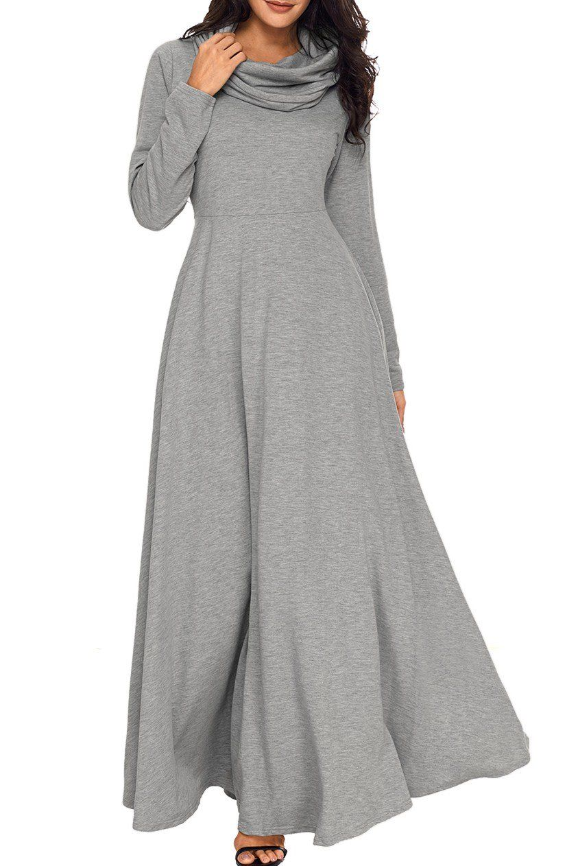 Grey Cow Neck Long Sleeve Maxi Dress