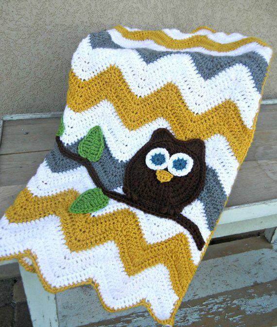Owl Chevron Baby Blanket Gray Mustard Yellow Baby Shower Gift Baby Afghan Crochet