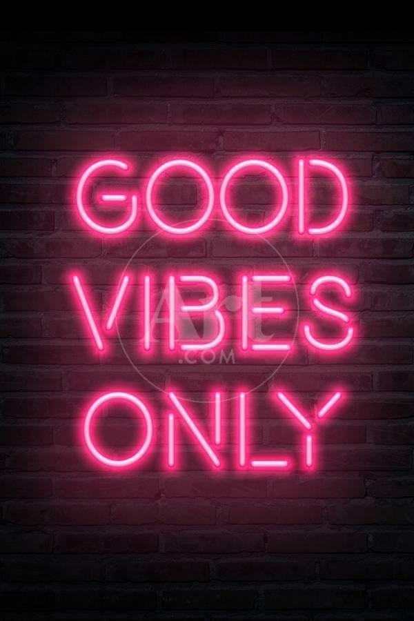 'Good Vibes Only - Pink Neon' Art Print    Art.com