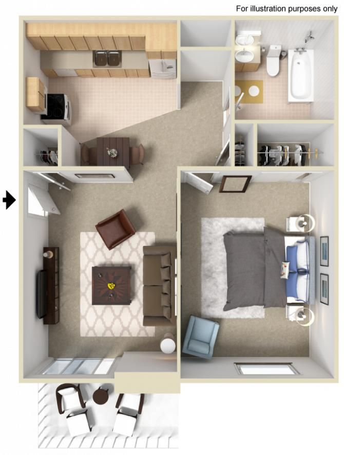 1 Bedroom 1 Bathroom 690 Sq Ft Apartment Layout Studio Apartment Layout Renting A House