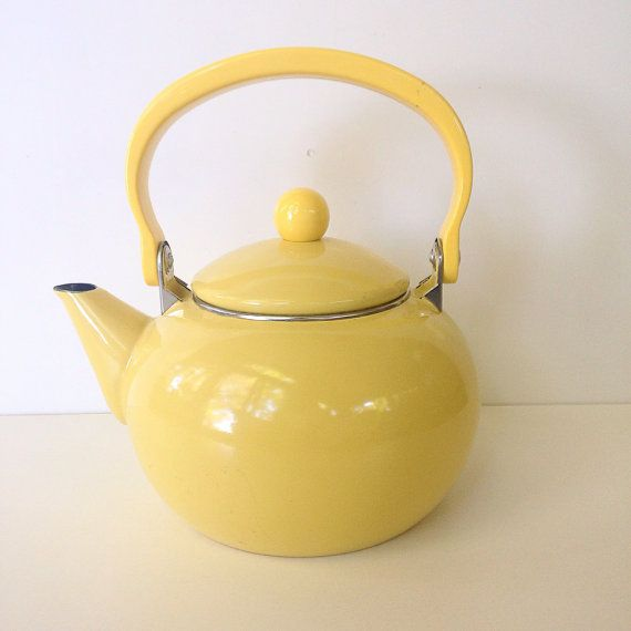 """Vintage yellow teapot  by snugsnuggery on Etsy - Approx 7"""" across, 6.5"""" tall"""