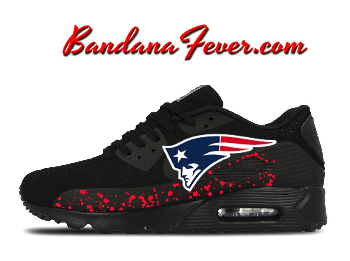 the latest 716e9 2f069 Custom Patriots Nike Air Max 90 Shoes Black, FREE SHIPPING,  Patriots,   airmax, by Bandana Fever  football  sportsnation  Nike  sports  love   running ...