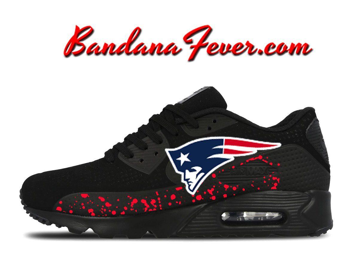 gładki całkowicie stylowy Całkiem nowy Custom Patriots Nike Air Max 90 Shoes Black, FREE SHIPPING ...