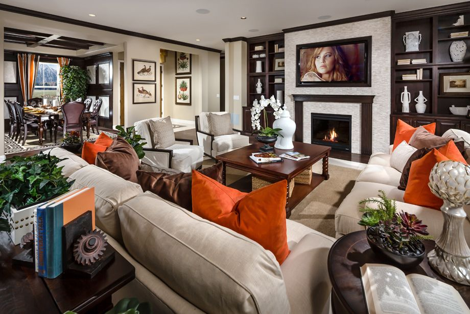 Adding orange and brown to spice up the living room. (Toll ...