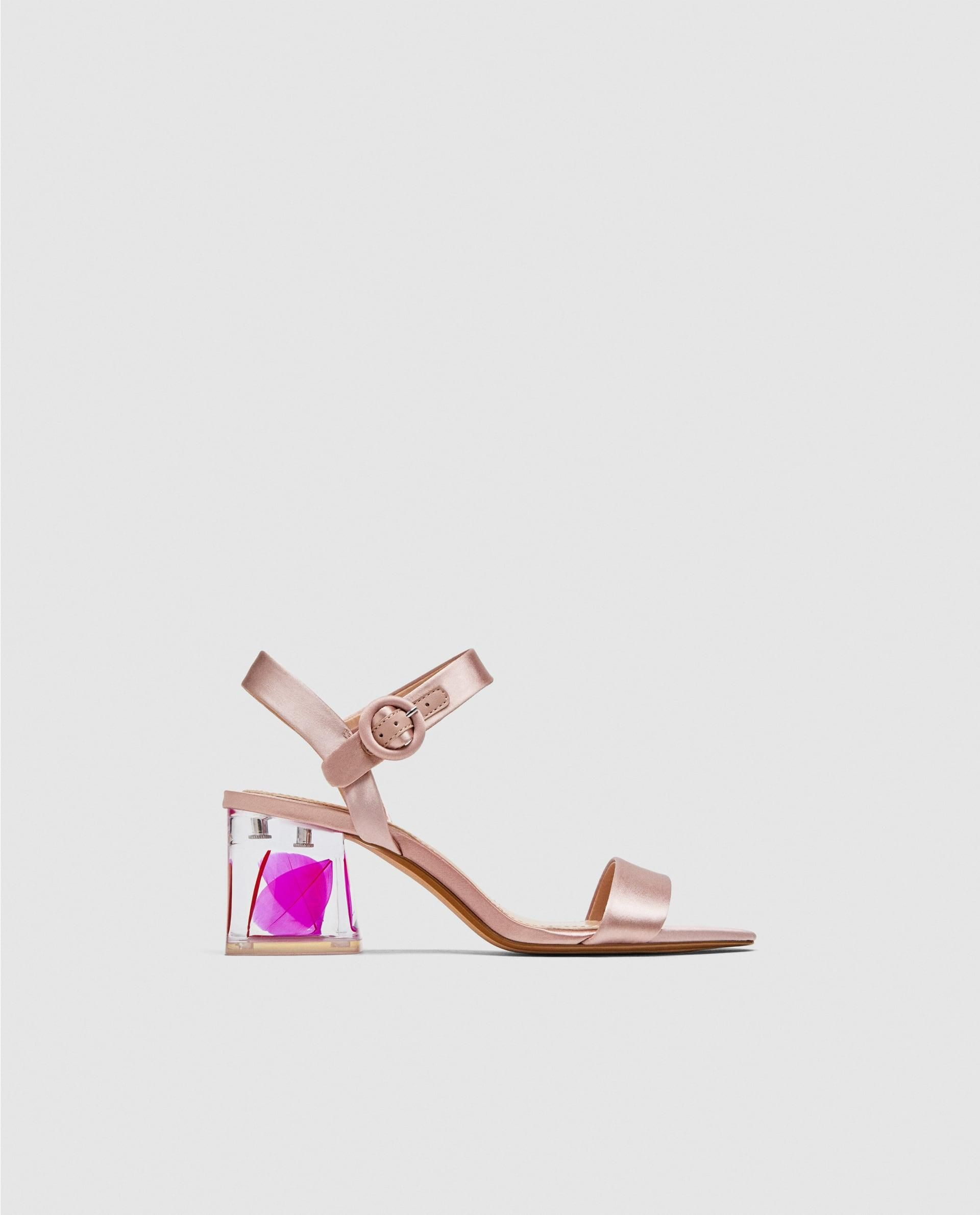 208bf8775bd87 Satin Sandals With Embellished Heels // 69.90 USD // Zara // Dark pink satin  sandals. Feathers inside the clear heels. Buckled ankle straps.