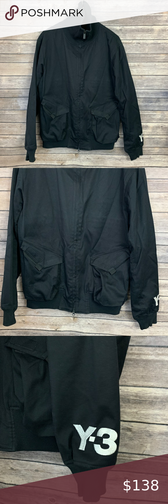 Adidas Y 3 Yohji Yamamoto Black Jacket Pre Owned Condition Very Good Size M Pit To Pit 21 Length 27 Please No Black Jacket Jackets Oversized Denim Jacket