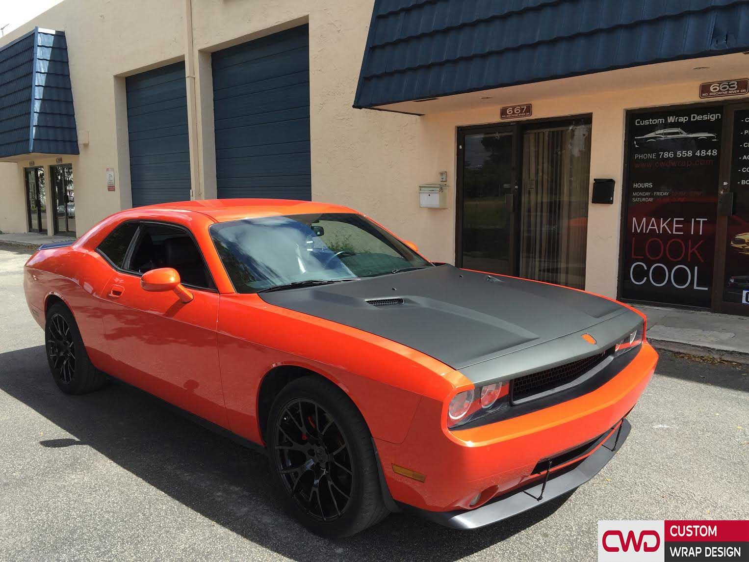 Dodge Challenger Hood Wrap In Matte Black And Smoked Taillight Book