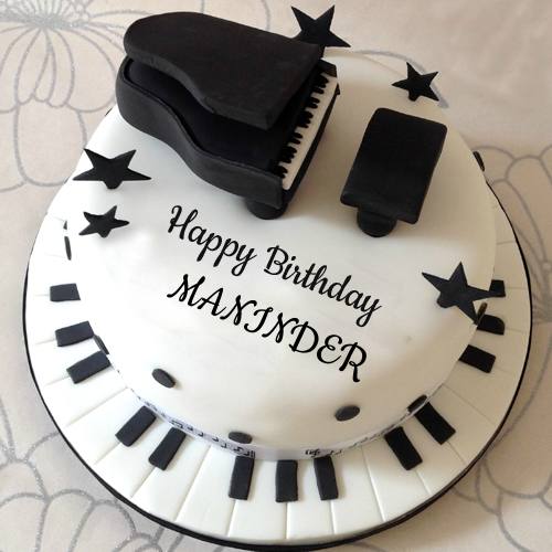 Happy Birthday Musical Piano Theme Cake With Your Name