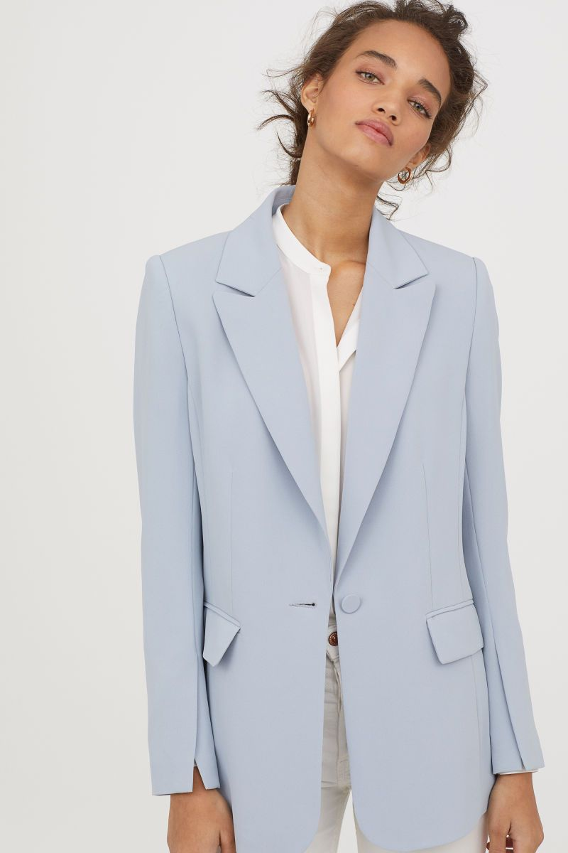 Single Breasted Blazer Light Blue Women H M Us Blazer Outfits For Women Light Blue Suit Jacket White Blazer Outfits