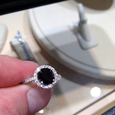 Pretty 2 Carat Black Diamond Ring We Just Got In I Really Only Want A 1 Ct Center Sto Black Diamond Ring Engagement Black Diamond Engagement Black Diamond Ring
