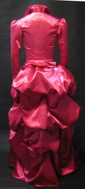 Pink satin Victorian sherlock Holmes gown bacl