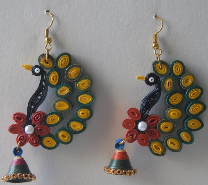 Quilling Pea Feather Earring Designs Quillingpaperdesigns