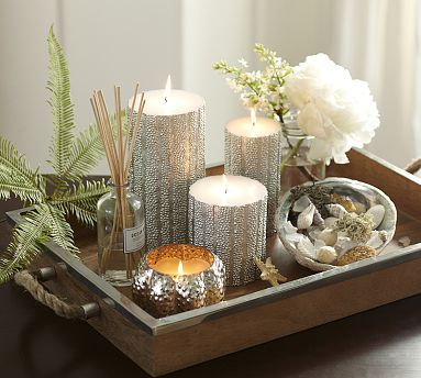 Homescent Collection Moonlit Sea Love This Arrangement For A Tray On A Coffee Table Potterybarn Decor Candle Decor Tray Decor