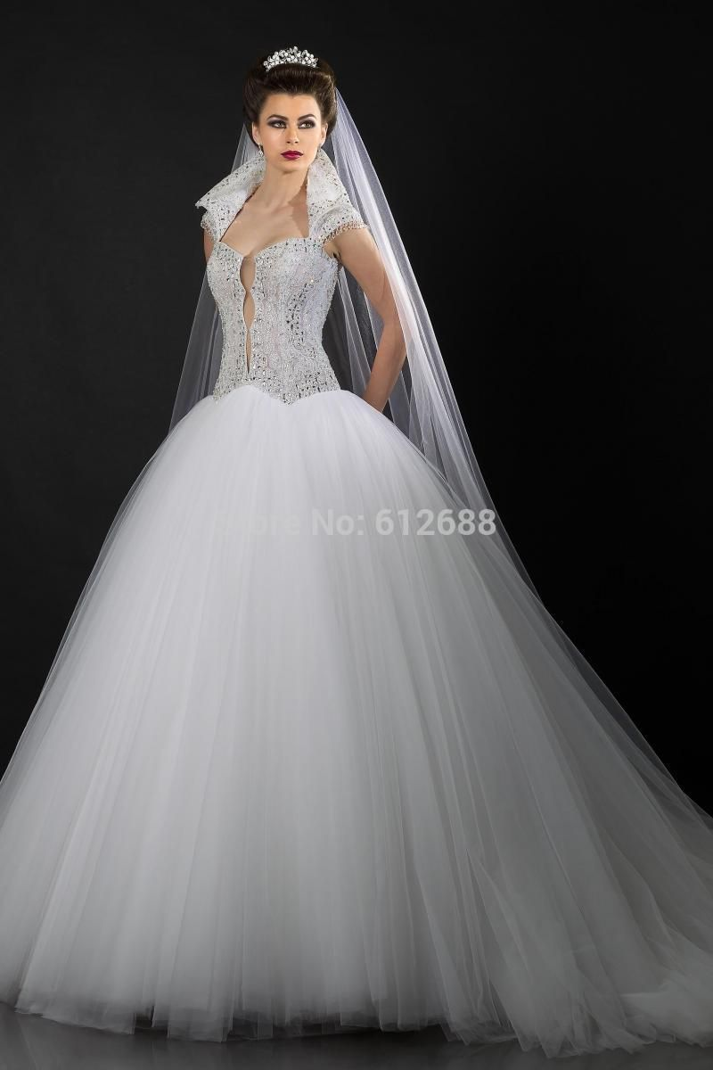 Click to buy ucuc ball gown wedding dress vneck cap sleeve