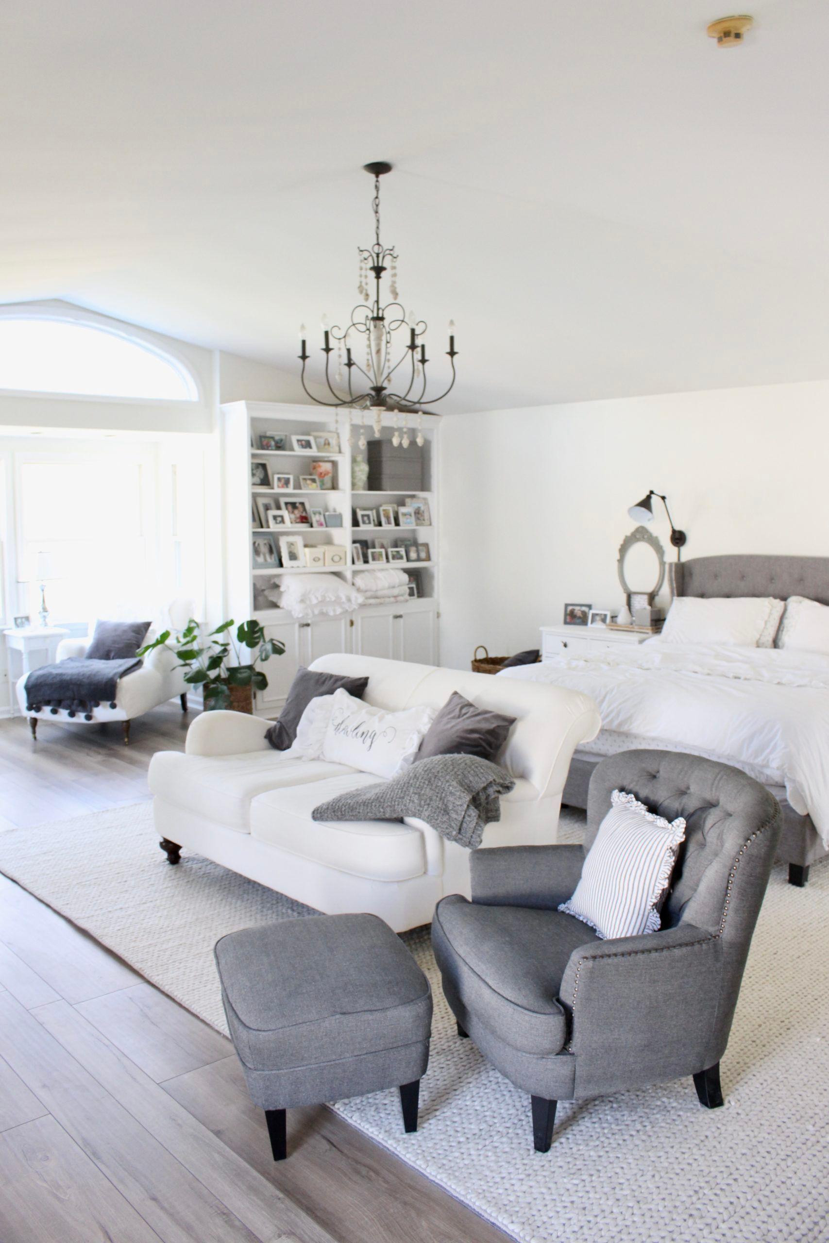 Master Bedroom Reveal White Cottage Home Living In 2020 White Master Bedroom Scandi Living Room Living Room Diy