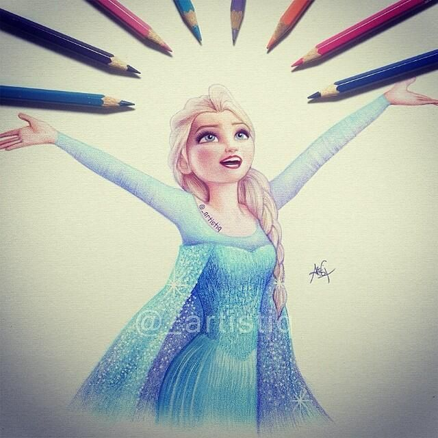 Elsa, the snow queen, disney princess drawing