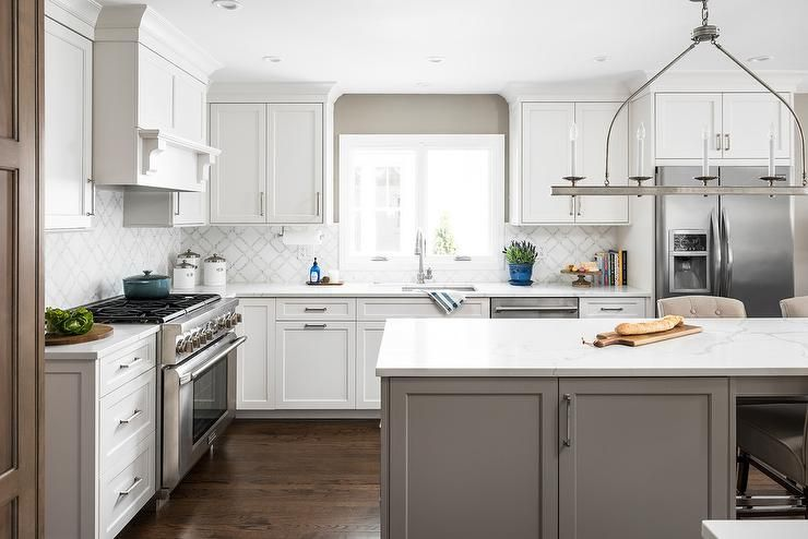 White Shaker Cabinets Mixed With A Gray, White Shaker Kitchen Cabinets With Gray Island