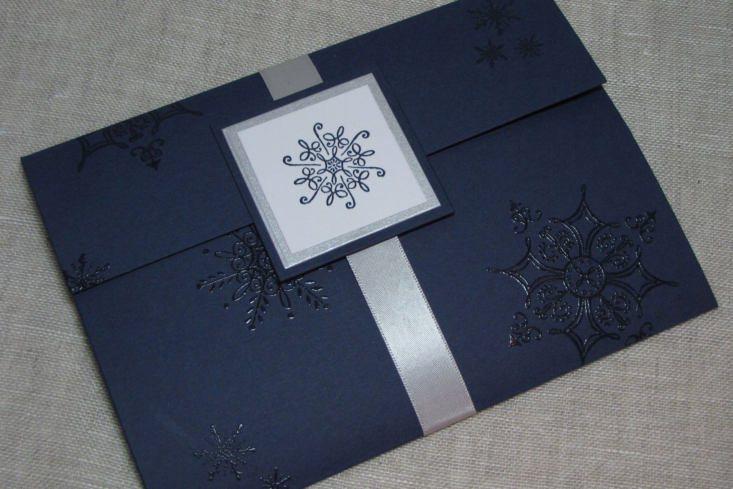 embossed wedding invitations Blue And Silver Wedding Invitations Navy Blue and Silver Snowflake Handcrafted Pocket fold Wedding