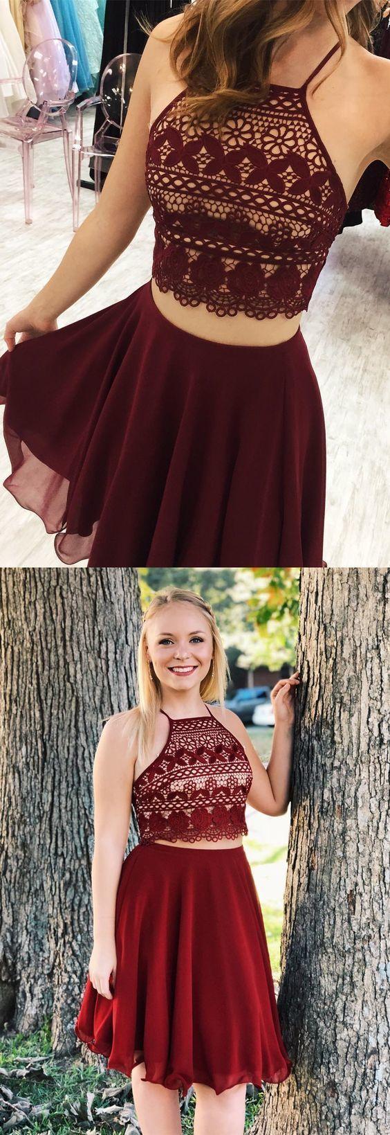 Two piece short homecoming dress burgundy homecoming dress royal