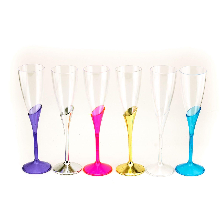 Plastic Champagne Cups Flutes Wedding Quinceanera Sweet 16 Party Favors Bulk Lot
