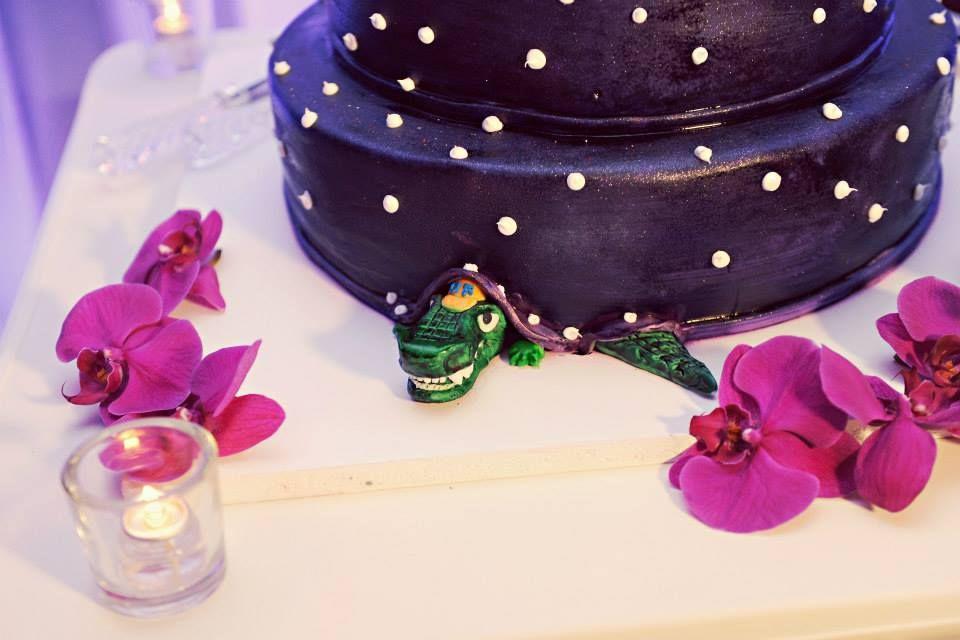 Groom's surprise, Gator, Purple, Wedding, Tampa, Orlando, Clearwater. Best Photographer Ever!  Rhodes Studios: http://www.rhodesstudios.com, Hyatt Regency Clearwater Beach Resort and Spa: http://www.clearwaterbeach.hyatt.com, Flowers: http://beautifultampaweddings.com, Frequency Band:  http://www.frequencybandorlando.com, Cake: http://www.cakesbynomeda.com, MMD Events: http://www.mmdevents.com, Lighting: http://www.baystagelighting.com/ Comment if you have any questions about where I got…