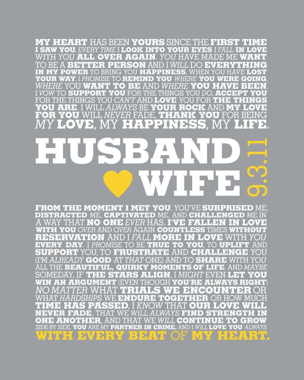 Custom Wedding Vows or Wedding Song 8 x 10 by ErinReaDesign