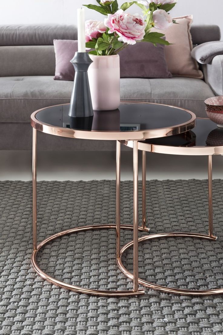Wohnling Set Of 2 Nesting Table Wl5 242 Made Of Glass With Copper Frame Living Room Kup Copper Frame Gl Glastische Couchtisch Metall Couchtisch Rund