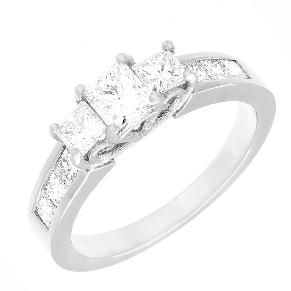 Vintage Style Diamond Anniversary Ring Princess Cut 18k White Gold 1.74 Carat #DiamondsByElizabeth #SolitairewithAccents