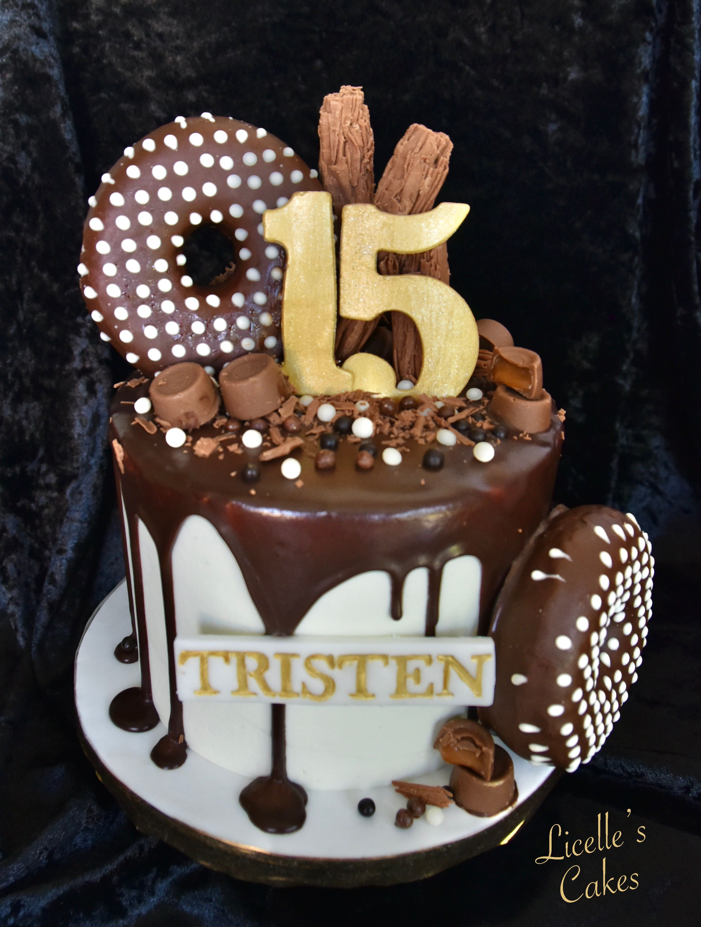 Chocolate Drip Cake With Donuts Flake And Rollo Cake Chocolate Drip Cake Cute Birthday Cakes