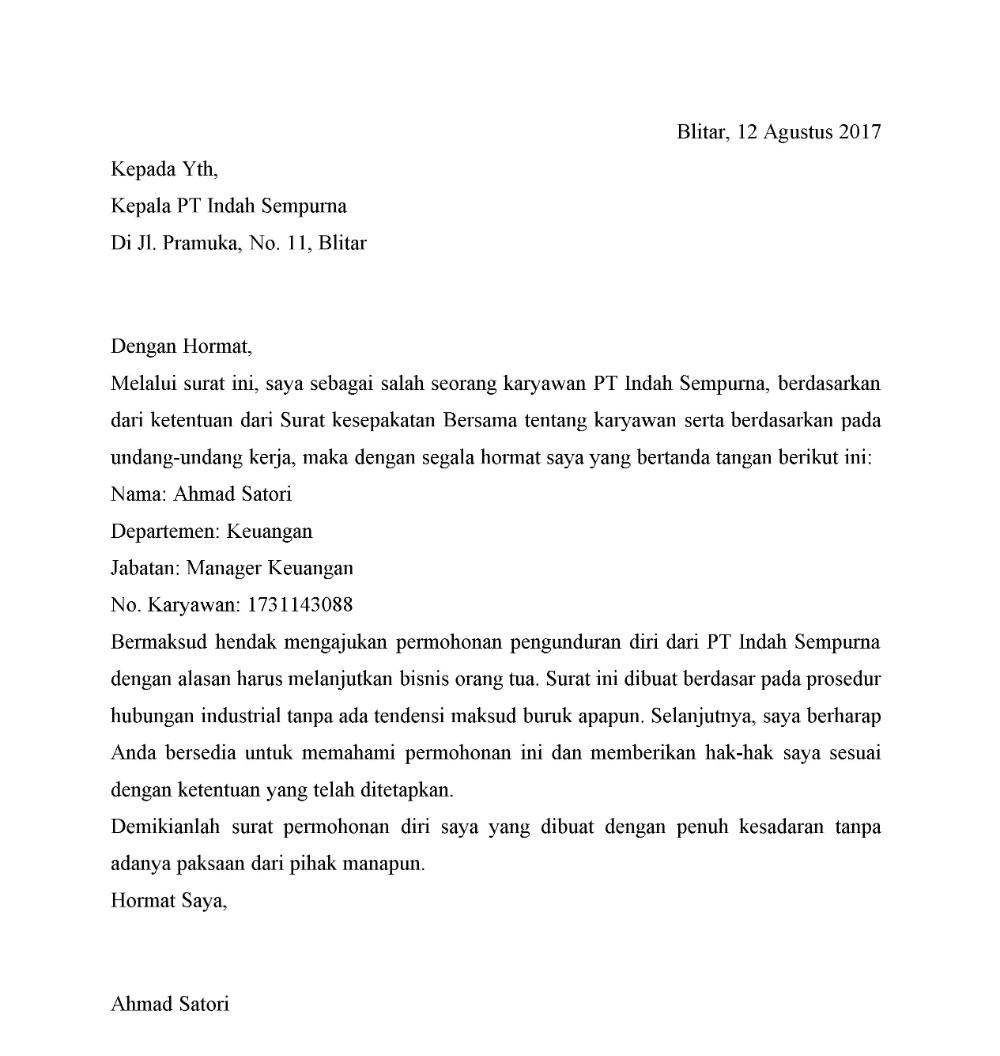 Contoh Surat Pengunduran Diri Yang Sifatnya Resmi Surat Pengunduran Diri Surat Tanda