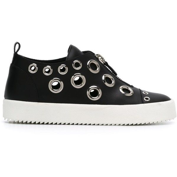 Giuseppe Zanotti Design 'Franz' sneakers ($590) ❤ liked on Polyvore featuring shoes, sneakers, black, leather shoes, genuine leather shoes, giuseppe zanotti sneakers, black rubber sole shoes and leather flat shoes