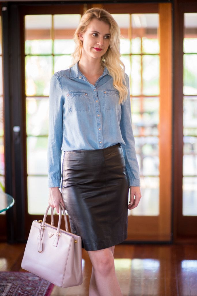 chambray top leather skirt suede tassel heels
