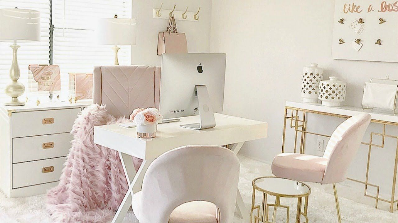 New Blush Pink Home Office Tour Pink Home Offices Home Office