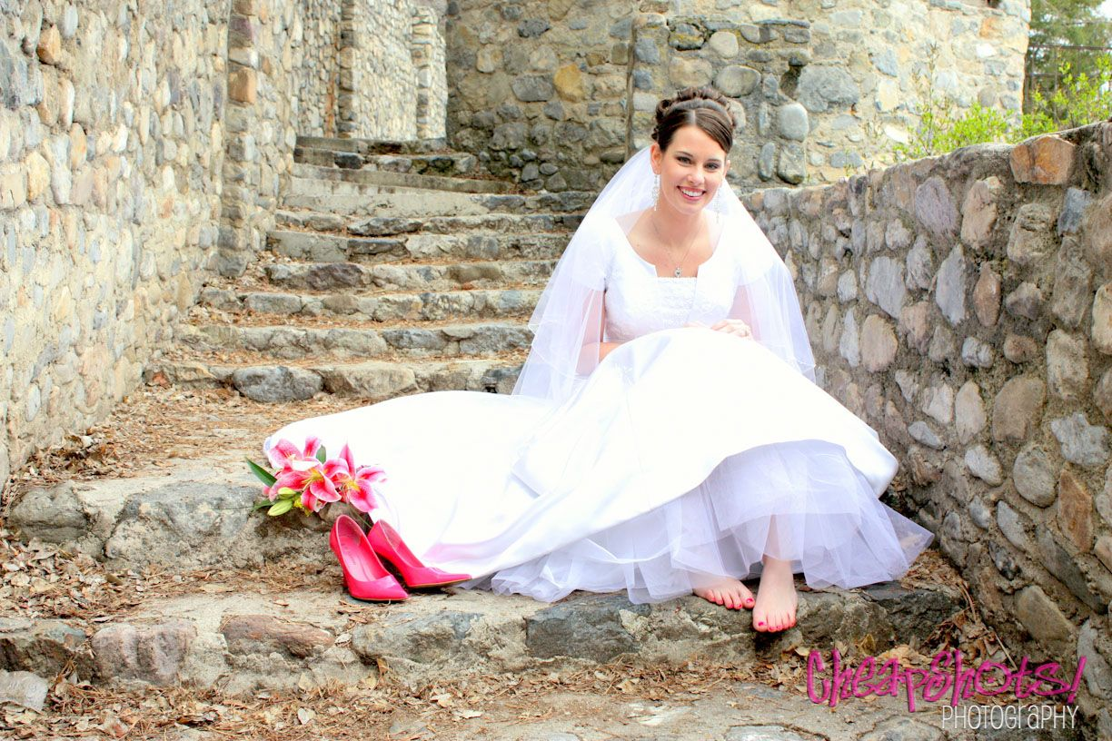 Pink High Heels For Wedding: Bride Sitting On Cobblestone Stairs