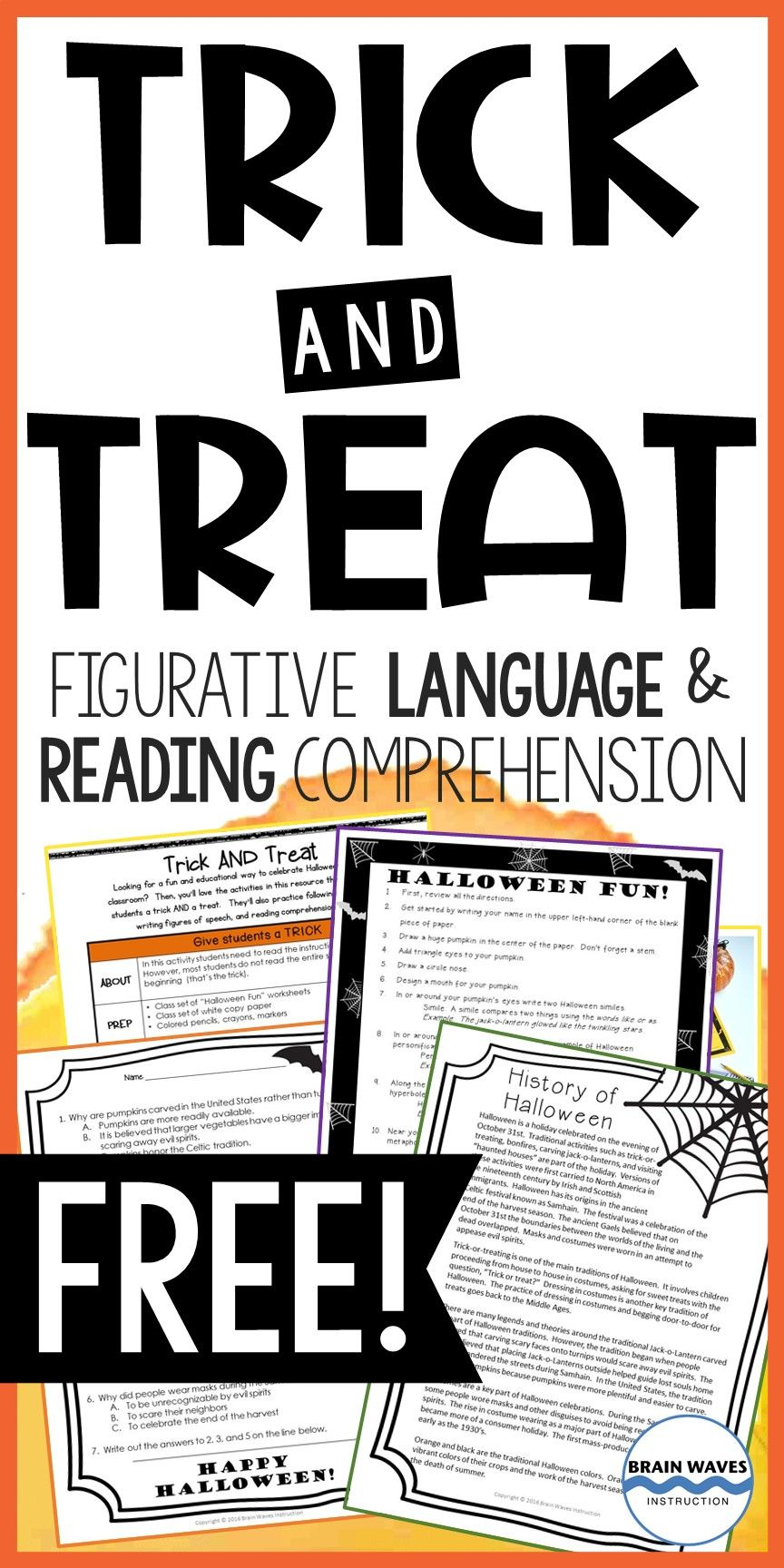 Free Halloween Reading Lesson And Activity Halloween Reading Lesson Reading Comprehension Figurative Language [ 1728 x 864 Pixel ]