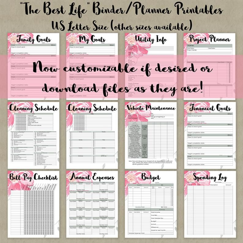CUSTOMIZABLE Home Management Binder Printables Collection